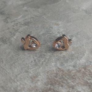 5 for $8 Rose Gold Acorn Faux Diamond Earrings
